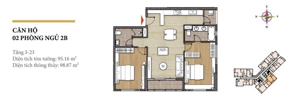 Thiết kế căn hộ 2PN - 2B tháp Hawaii