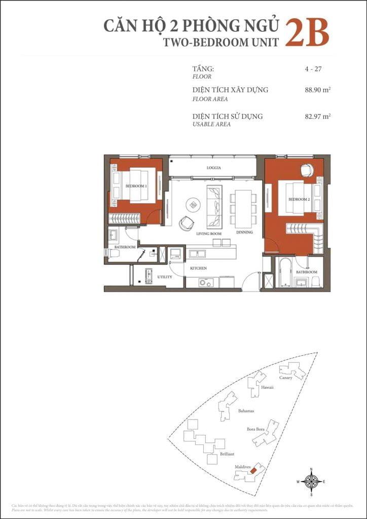 Thiết kế căn hộ 2PN - 2B tháp Maldives