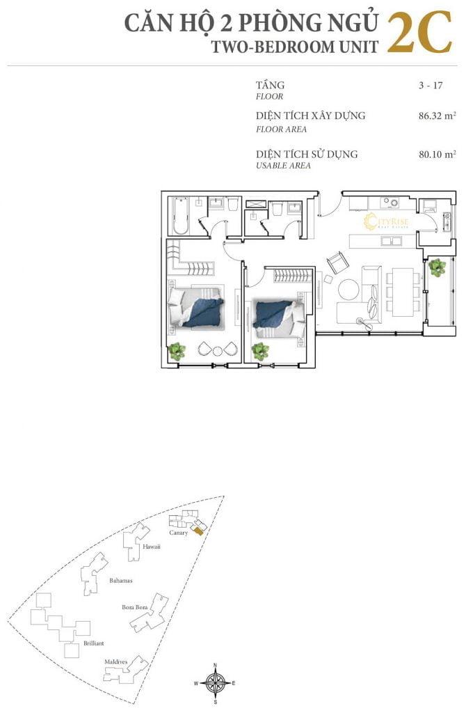 Thiết kế căn hộ 2PN - 2C tháp Canary