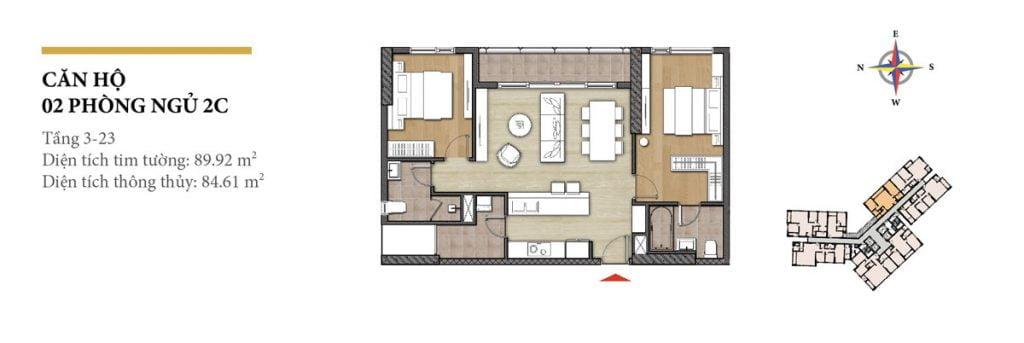 Thiết kế căn hộ 2PN - 2C tháp Hawaii