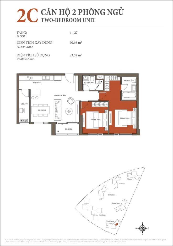 Thiết kế căn hộ 2PN - 2C tháp Maldives