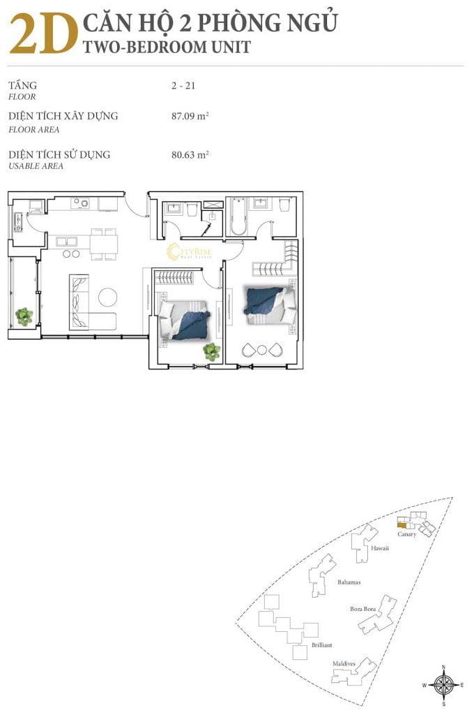 Thiết kế căn hộ 2PN - 2D tháp Canary