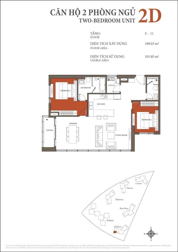 Thiết kế căn hộ 2PN - 2D tháp Maldives