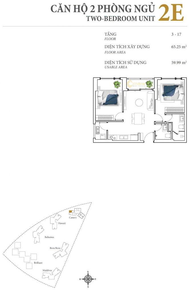 Thiết kế căn hộ 2PN - 2E tháp Canary