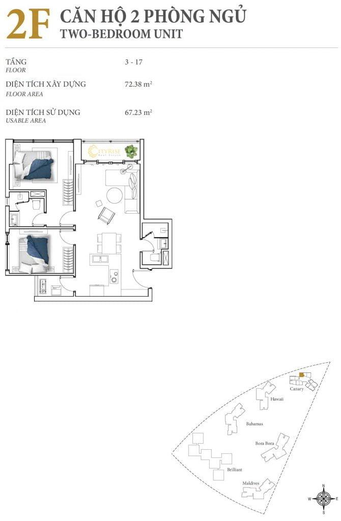 Thiết kế căn hộ 2PN - 2F tháp Canary