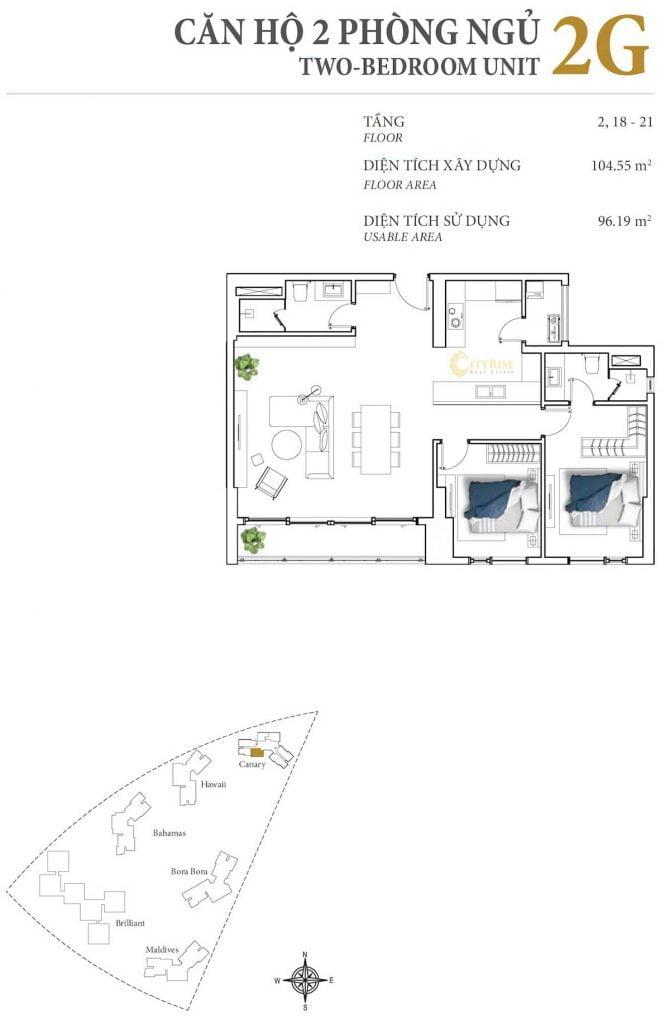 Thiết kế căn hộ 2PN - 2G tháp Canary