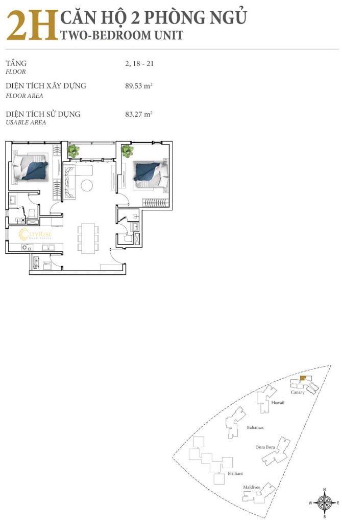 Thiết kế căn hộ 2PN - 2H tháp Canary