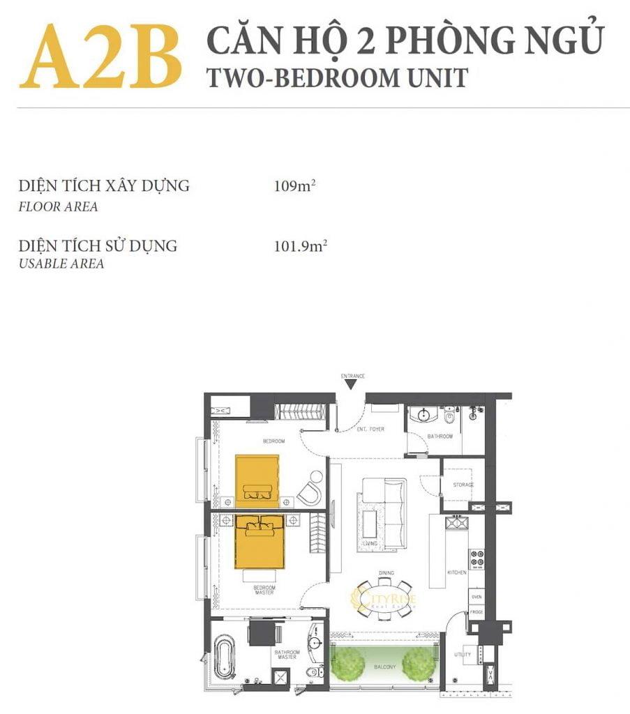 Thiết kế căn hộ 2PN - A2B tháp Brilliant