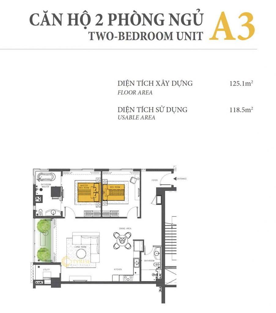 Thiết kế căn hộ 2PN - A3 tháp Brilliant