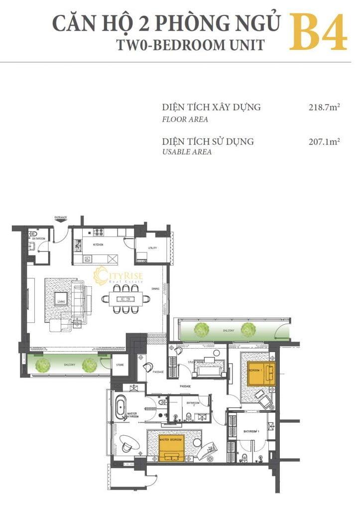 Thiết kế căn hộ 2PN - B4 tháp Brilliant