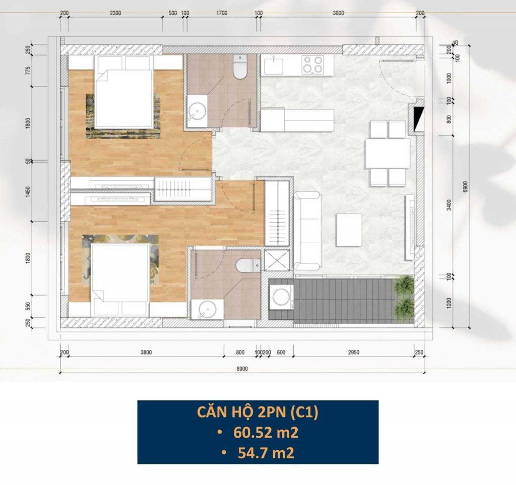 Thiết kế căn hộ 2PN (C1)