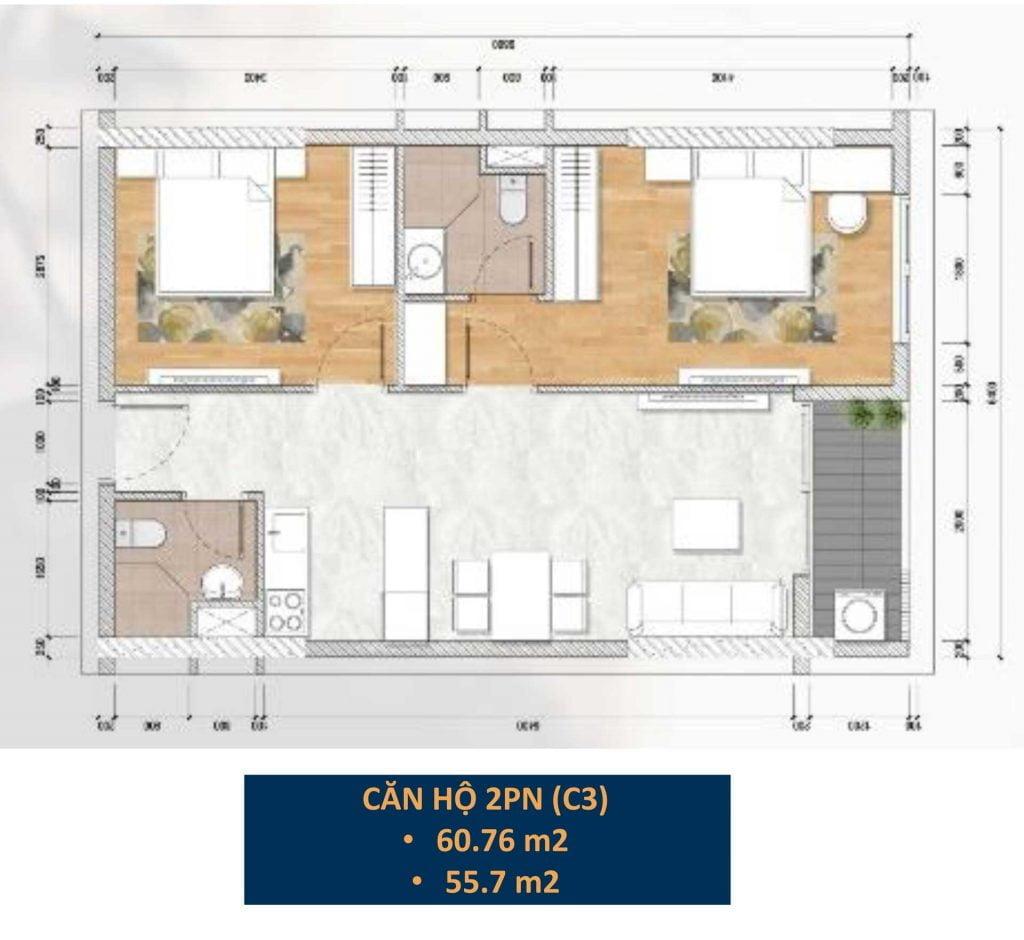 Thiết kế căn hộ 2PN (C3)