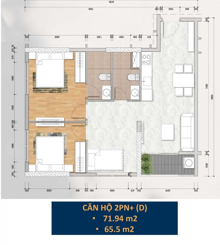 Thiết kế căn hộ 2PN+ (D)