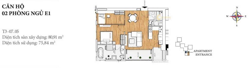 Thiết kế căn hộ 2PN - E1 tháp Brilliant