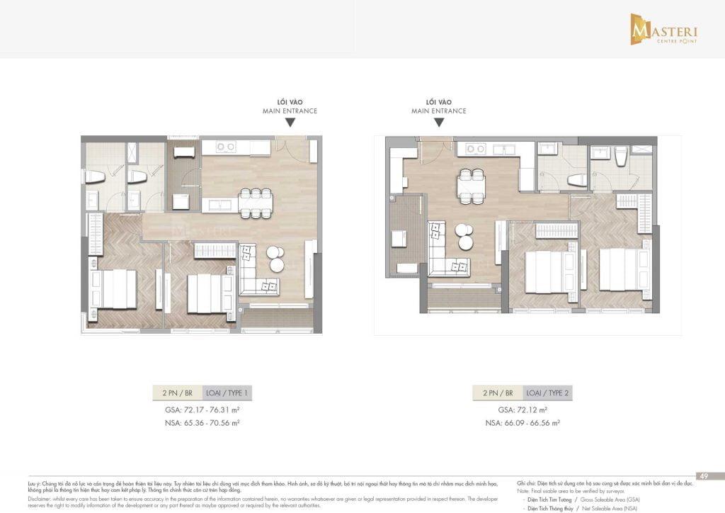 Thiết kế căn hộ 2PN loại 1-2