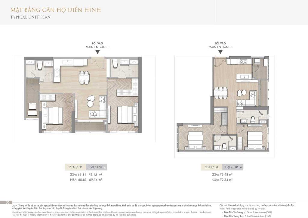 Thiết kế căn hộ 2PN loại 3-4