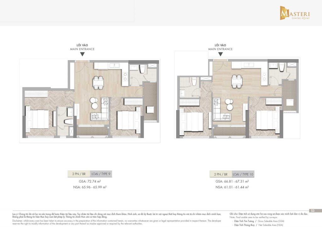 Thiết kế căn hộ 2PN loại 9-10