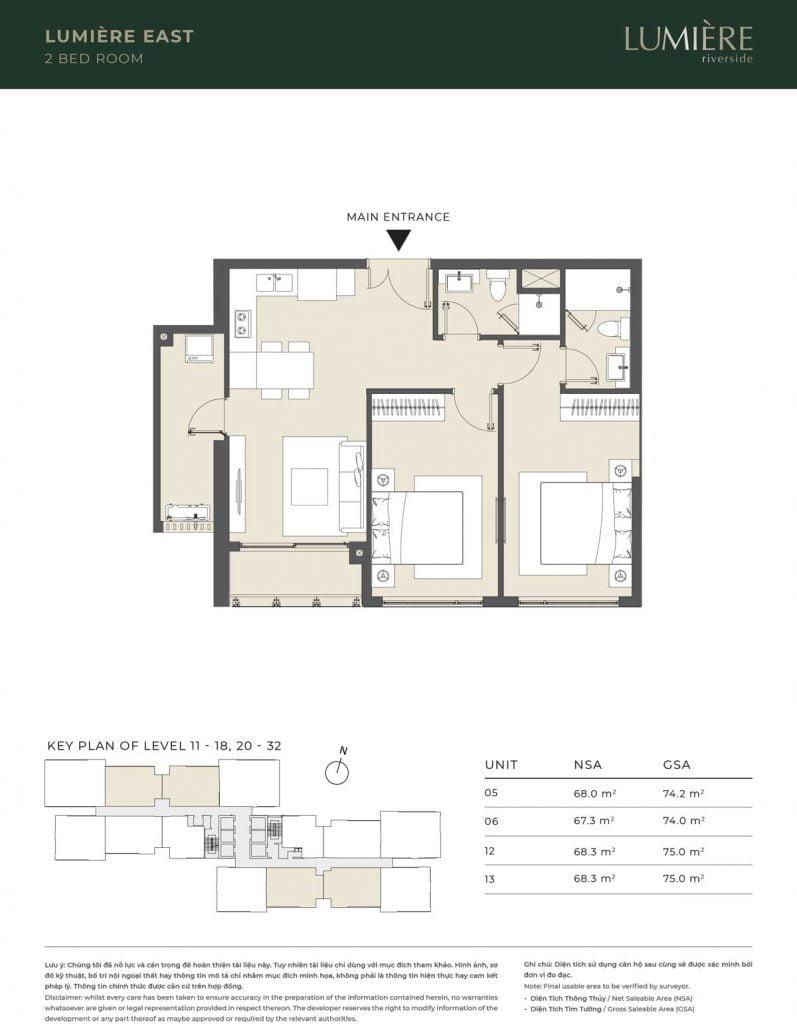 Thiết kế căn hộ 2PN – căn số 5, 6, 12, 13 tầng 11-18, 20-32