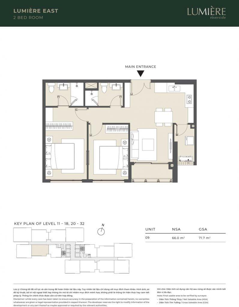 Thiết kế căn hộ 2PN – căn số 9 tầng 11-18, 20-32