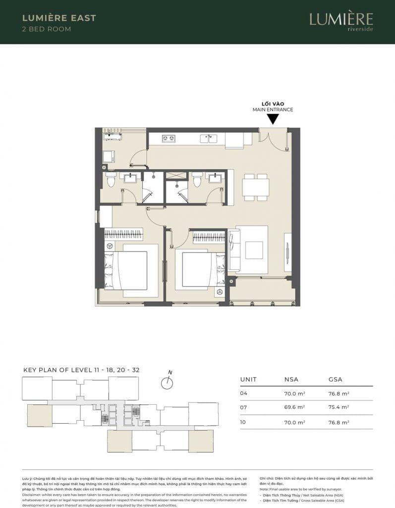 Thiết kế căn hộ 2PN – căn số 4, 7, 10 tầng 11-18, 20-32