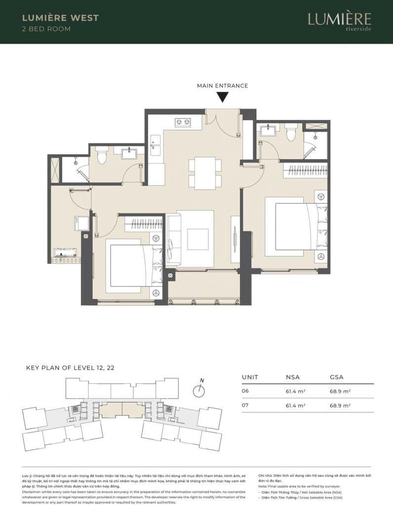 Thiết kế căn hộ 2PN – căn số 6, 7 tầng 12, 22