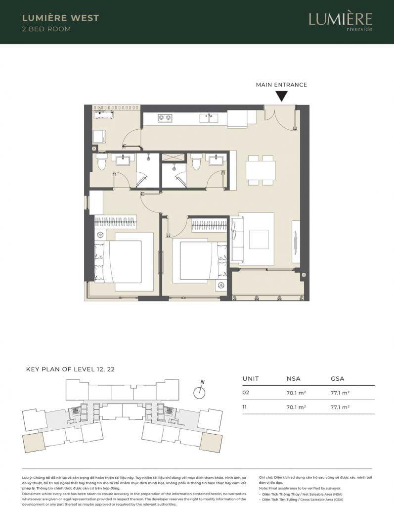 Thiết kế căn hộ 2PN – căn số 2, 11 tầng 12, 22