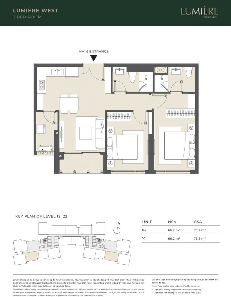 Thiết kế căn hộ 2PN – căn số 3, 10 tầng 12, 22