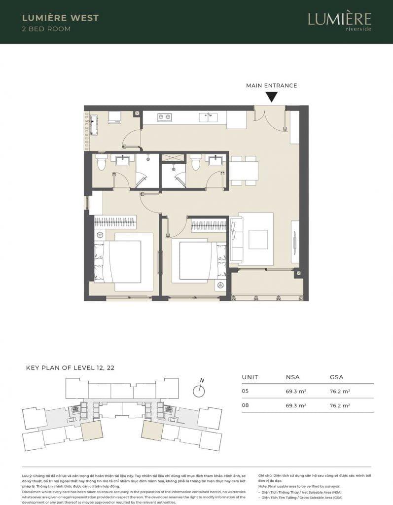 Thiết kế căn hộ 2PN – căn số 5, 8 tầng 12, 22