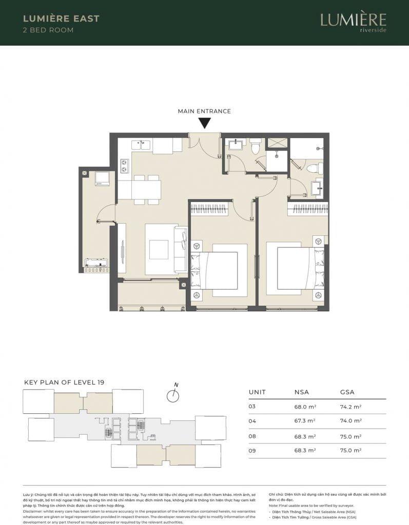 Thiết kế căn hộ 2PN - căn số 3, 4, 8, 9 tầng 19