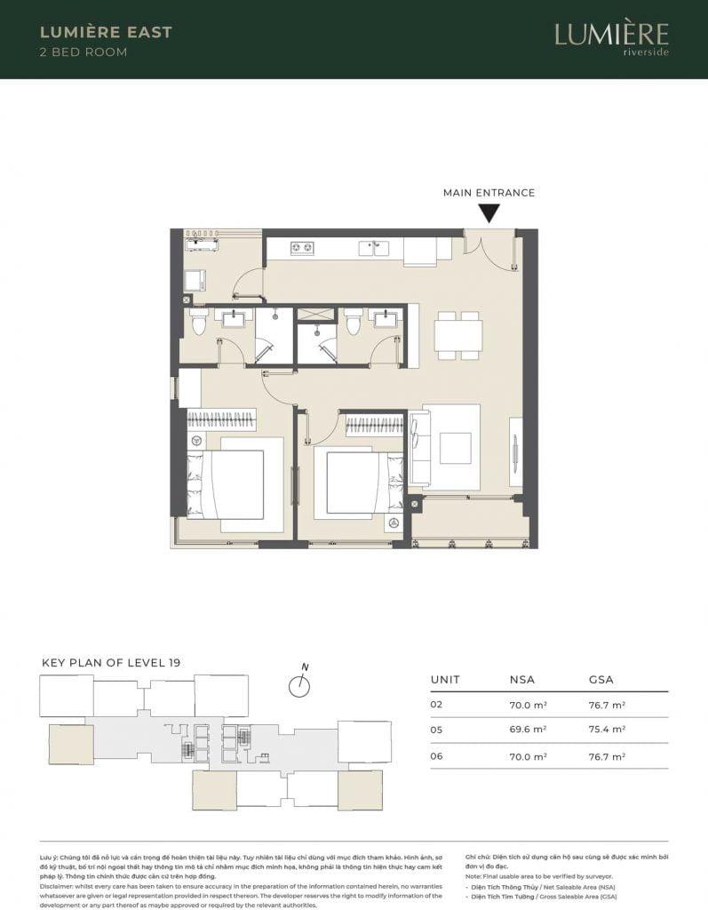 Thiết kế căn hộ 2PN - căn số 2, 5, 6 tầng 19