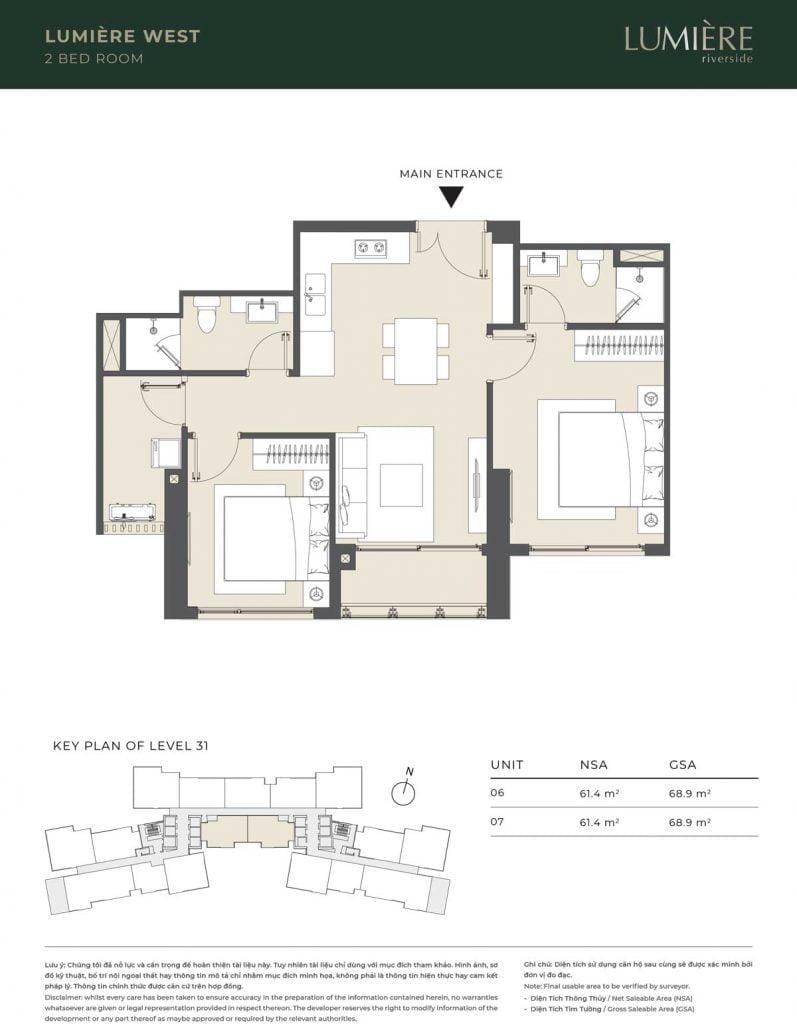 Thiết kế căn hộ 2PN – căn số 6, 7 tầng 31