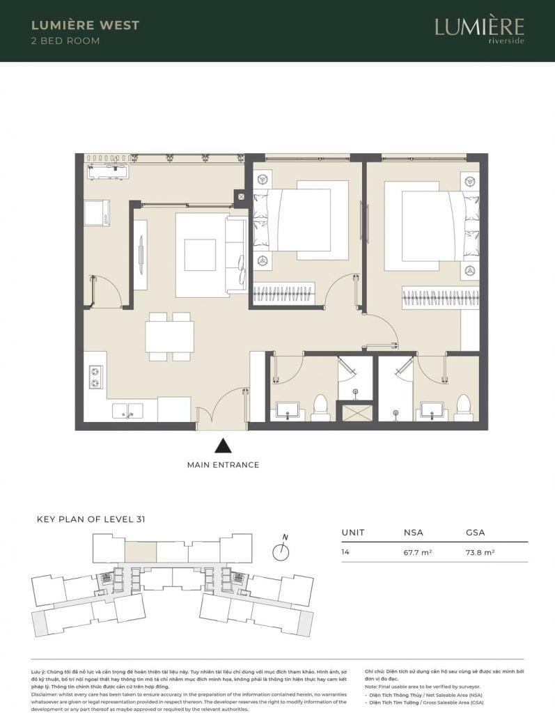 Thiết kế căn hộ 2PN – căn số 14 tầng 31
