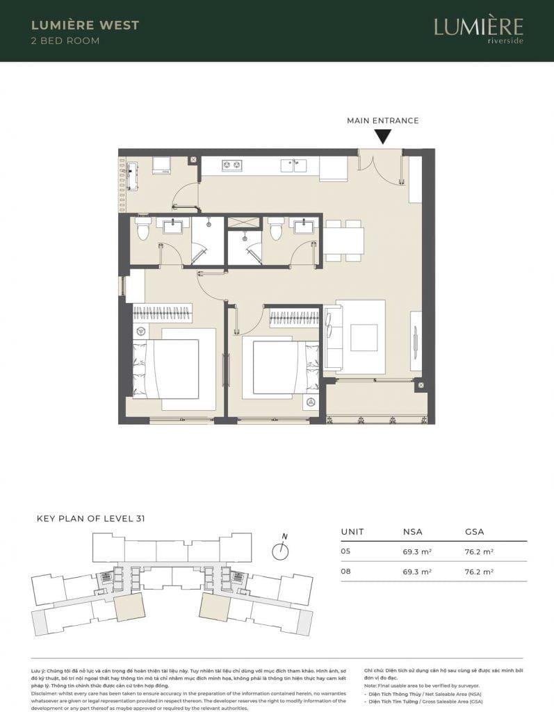 Thiết kế căn hộ 2PN – căn số 5, 8 tầng 31