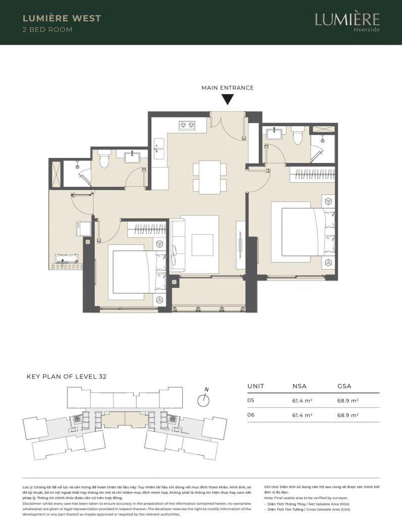 Thiết kế căn hộ 2PN – căn số 5, 6 tầng 32