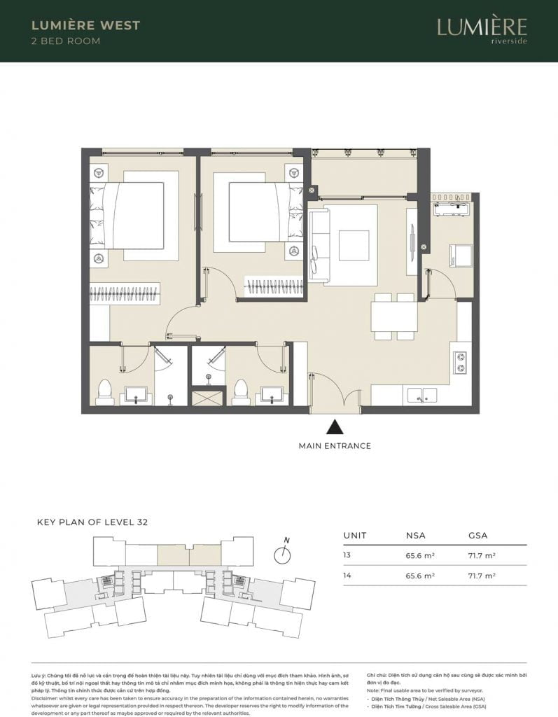 Thiết kế căn hộ 2PN – căn số 13, 14 tầng 32
