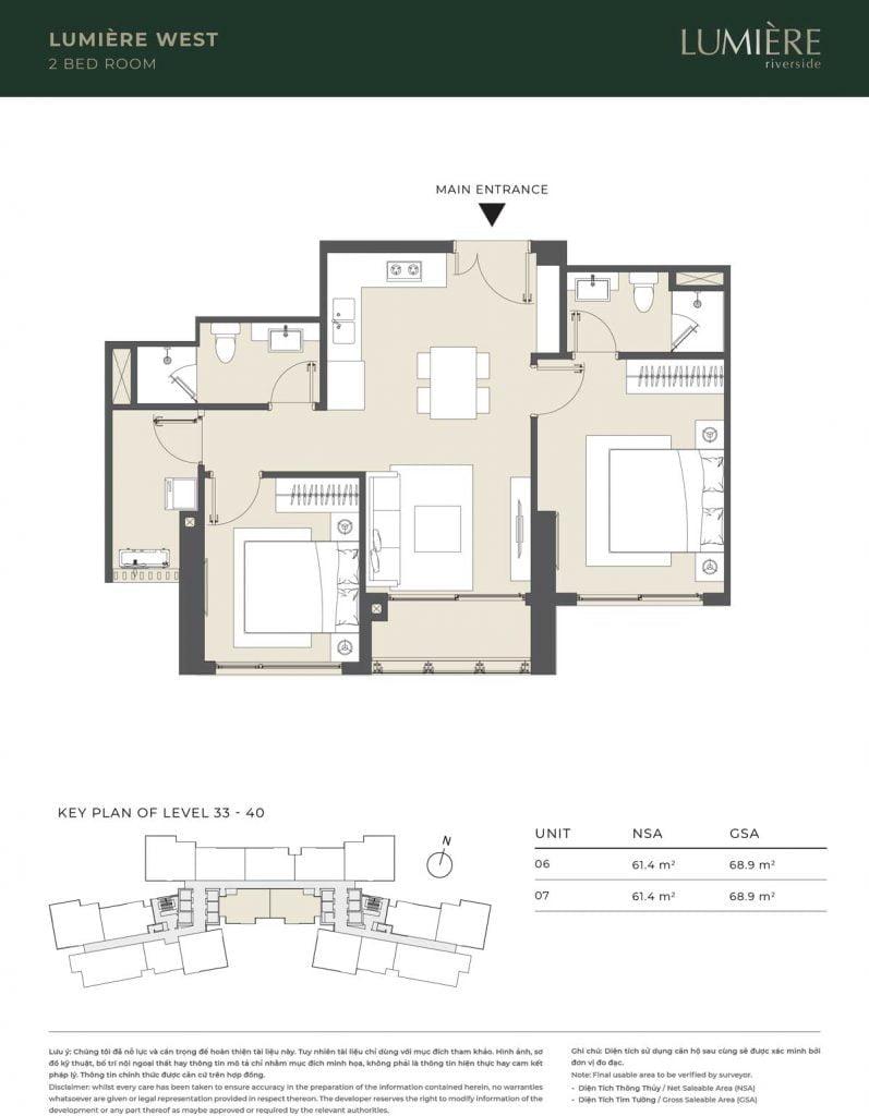 Thiết kế căn hộ 1PN – căn số 6-7 tầng 33-40