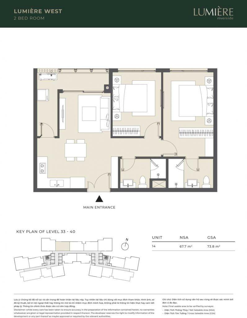 Thiết kế căn hộ 2PN – căn số 14 tầng 33-40