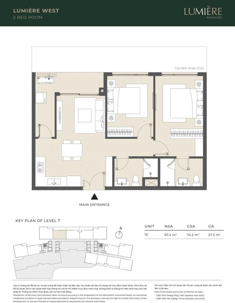 Thiết kế căn hộ 2PN – căn số 10 tầng 7