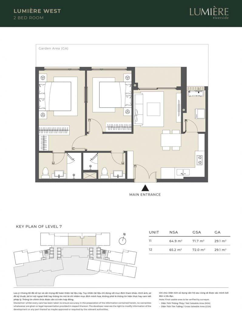 Thiết kế căn hộ 2PN – căn số 11, 12 tầng 7
