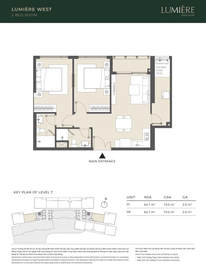 Thiết kế căn hộ 2PN – căn số 1, 8 tầng 7