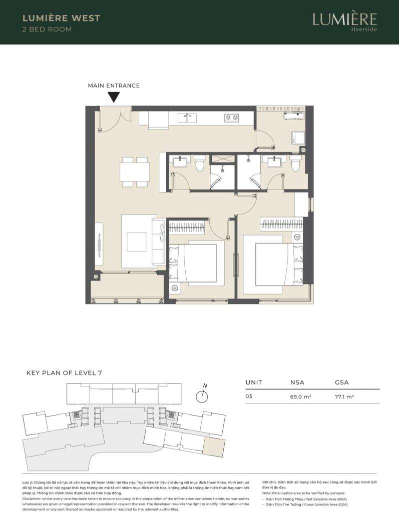 Thiết kế căn hộ 2PN – căn số 3 tầng 7