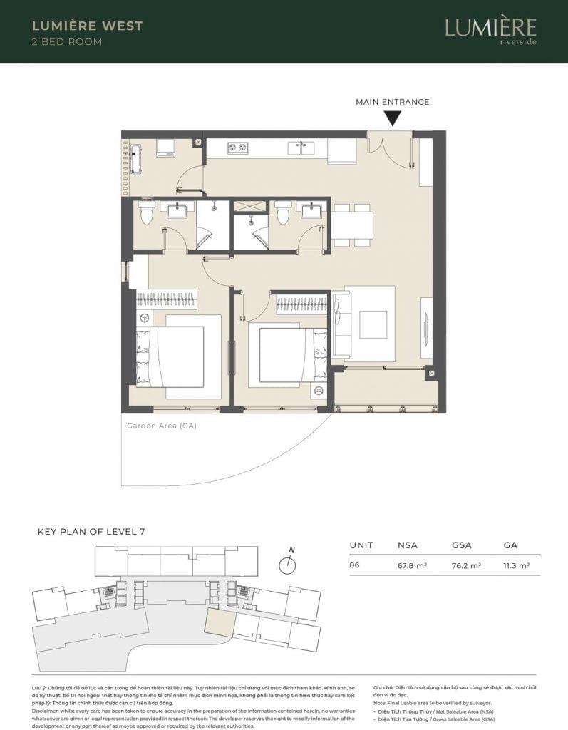 Thiết kế căn hộ 2PN – căn số 6 tầng 7