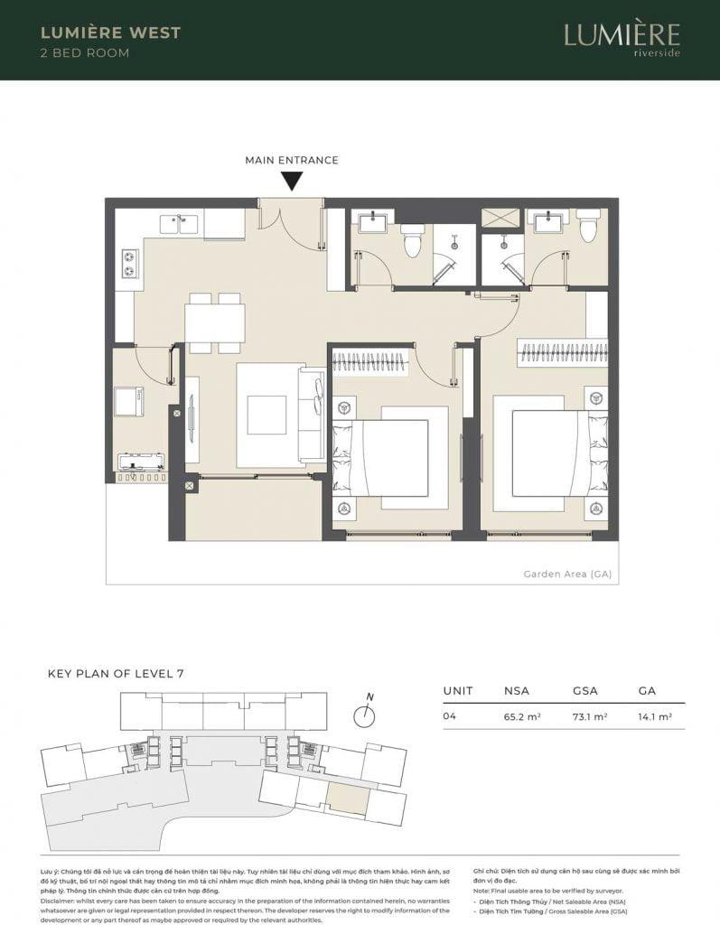 Thiết kế căn hộ 2PN – căn số 4 tầng 7
