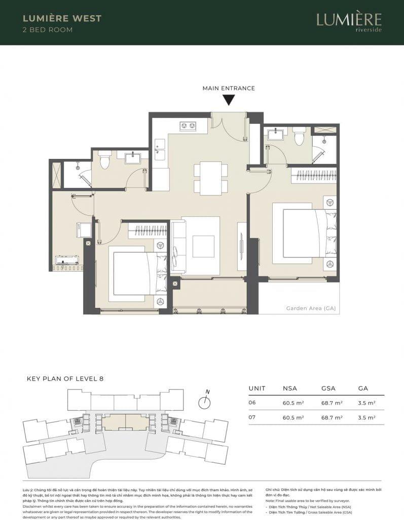 Thiết kế căn hộ 2PN – căn số 6, 7 tầng 8