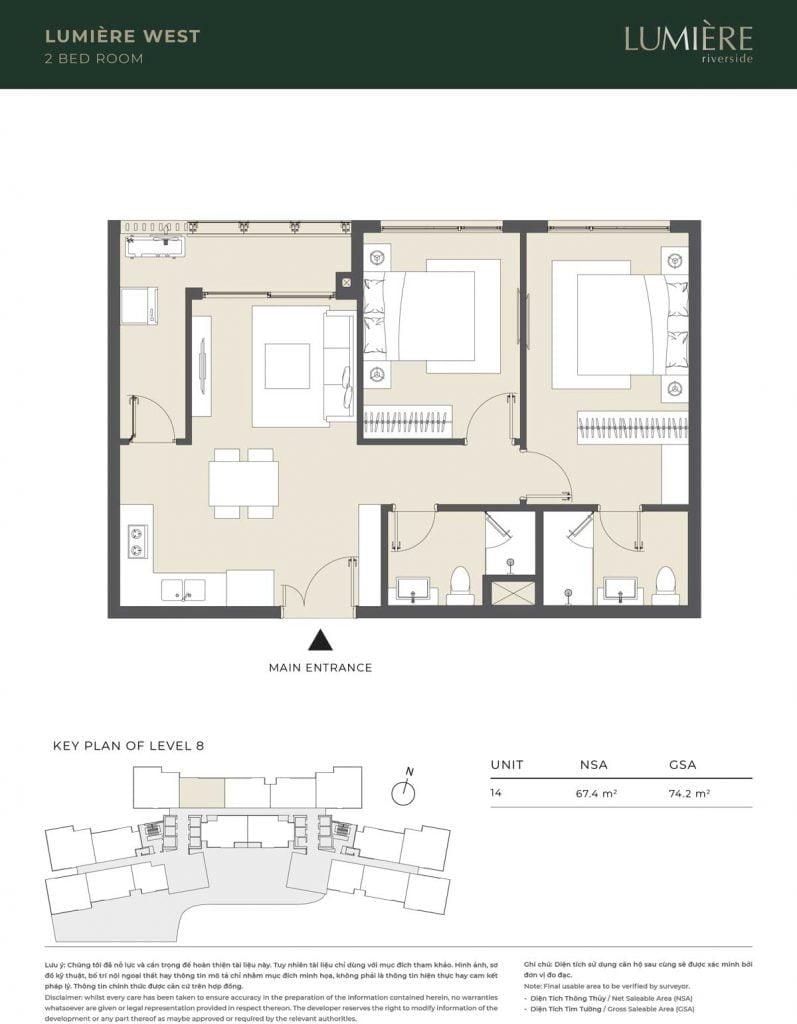 Thiết kế căn hộ 2PN – căn số 14 tầng 8