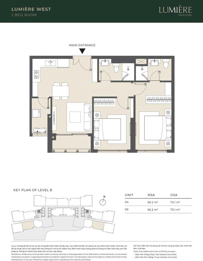 Thiết kế căn hộ 2PN – căn số 4, 9 tầng 8