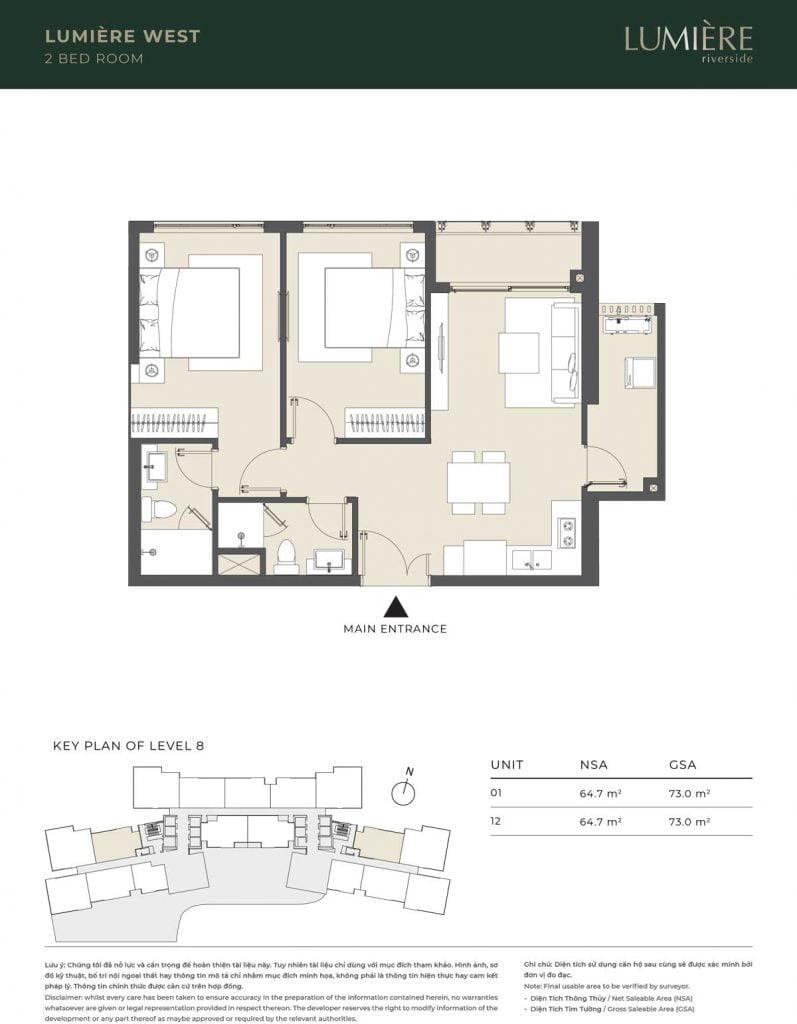 Thiết kế căn hộ 2PN – căn số 1, 12 tầng 8