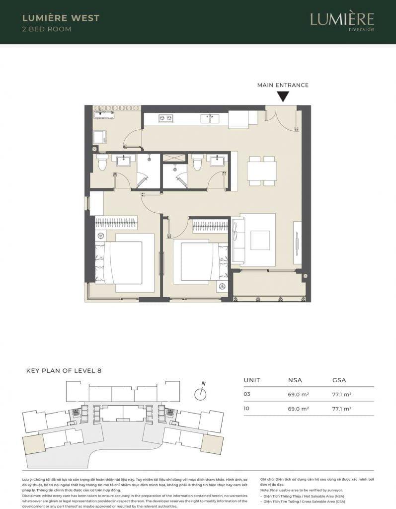 Thiết kế căn hộ 2PN – căn số 3, 10 tầng 8