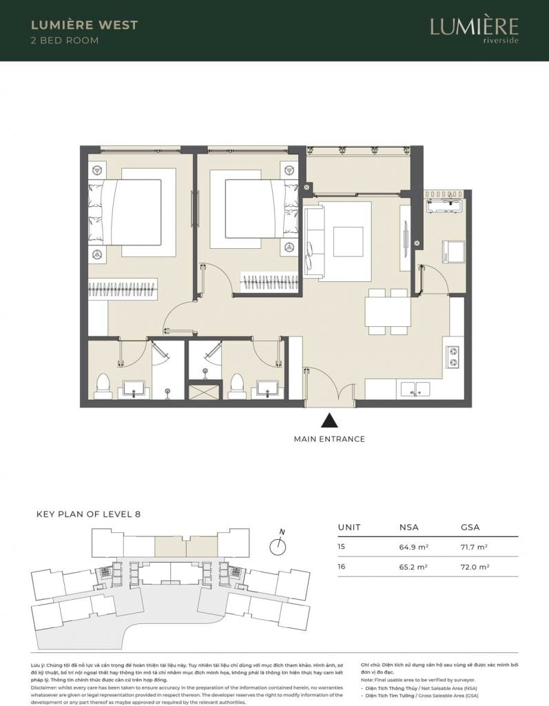 Thiết kế căn hộ 2PN – căn số 15, 16 tầng 8