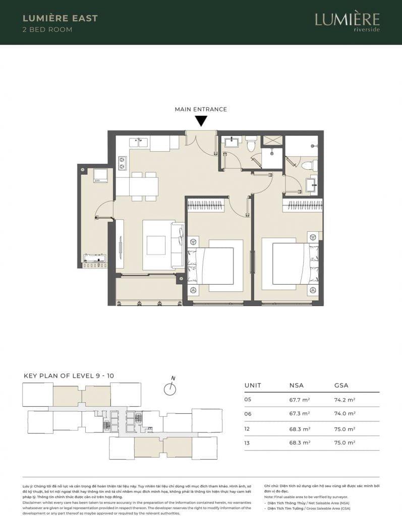 Thiết kế căn hộ 2PN – căn số 5, 6, 12, 13 tầng 9-10